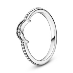 Damenring Sparkling Crescent Moon aus 925er Silber