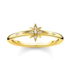 Damenring Stern aus vergoldetem 925er Silber, Zirkonia