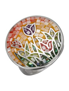 Damenring -Tulpenmotiv Diemer Highlights Multicolor