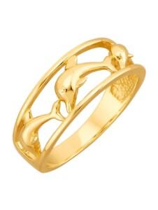Delfin-Ring Diemer Gold Gelbgoldfarben