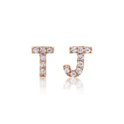 Diamant Ohrstecker aus 585er Roségold, Buchstaben