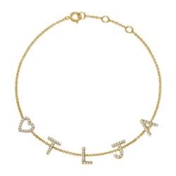 Diamantarmband aus 585er Gold, 5 Buchstaben, Symbole