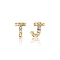 Diamantbesetzte Buchstaben Ohrstecker aus 14K Gold