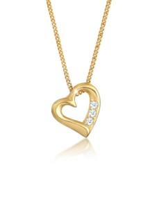 Diamore Halskette Herz Liebe Diamant (0.06 ct.) 585 Gelbgold Diamore Weiß
