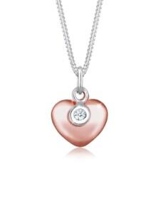Diamore Halskette Herz Solitär Bi-Color Diamant (0.03ct.) Silber Diamore Silber