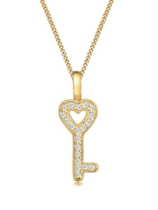 Diamore Halskette Schlüssel Elegant Diamant (0.20 ct.) 585 Gelbgold Diamore Gold