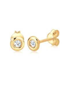 Diamore Ohrringe Klassisch Solitär Diamant (0.12 ct.) 585 Gelbgold Diamore Weiß