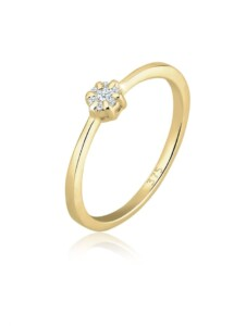 Diamore Ring Verlobung Blume Diamant (0.08 ct.) 375 Gelbgold Diamore Gold