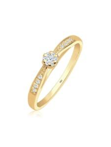 Diamore Ring Verlobung Diamant (0.16 ct.) Blume 585 Gelbgold Diamore Gold