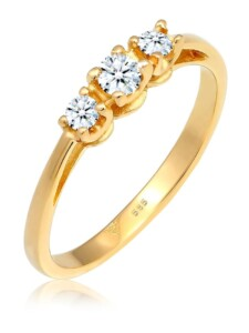 Ring Verlobungsring Trio Diamant 0.22 Ct. 585 Gelbgold DIAMORE Gold