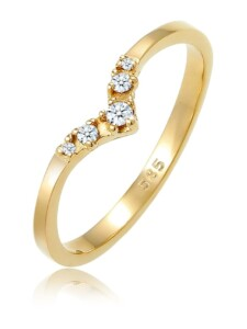 Ring Verlobungsring V-Form Diamant 0.09 Ct 585 Gelbgold DIAMORE Gold