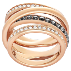 Dynamic Ring, grau, Rosé vergoldet