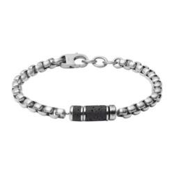 Edelstahl Armband für Herren mit Lavastein