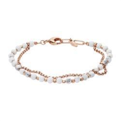 Edelstahl Armband mit weißen Perlen