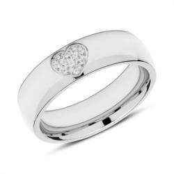 Edelstahl Ring Herz mit Zirkonia gravierbar