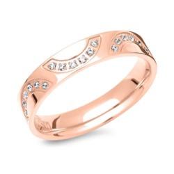 Edelstahl Ring rosé vergoldet mit Steinbesatz