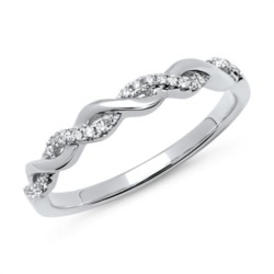 Eleganter 750er Twisted Ring 26 Diamanten