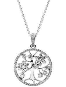 Element Familien-Stammbaum mit Kette Pandora Weiß