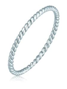 Ring Twisted Gedreht Basic Minimal Look 585 Weißgold Elli Premium Silber