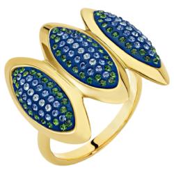 Evil Eye Cocktail Ring, blau, vergoldet