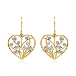 Florale Herz Ohrhänger aus 14K Gold