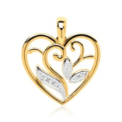 Floraler Herzanhänger aus 14K Gold mit Diamant