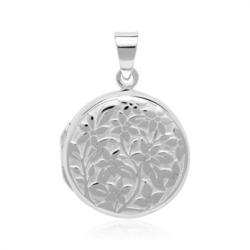 Florales Medaillon aus Sterlingsilber gravierbar