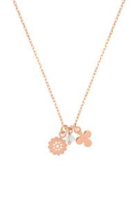FLOWER CHARM Halskette rosé vergoldet