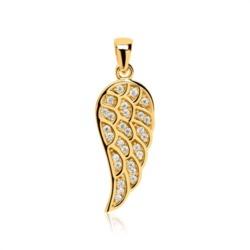 Flügelanhänger aus 333er Gold mit Zirkoniabesatz