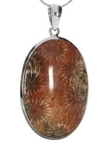 Fossil Anhänger 925 Silber 1001 Diamonds braun