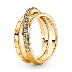 Gekreuzter Ring für Damen mit Zirkonia