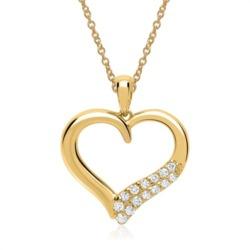 Gelbgold-Kette Anhänger 14 Diamanten 0,11 ct.