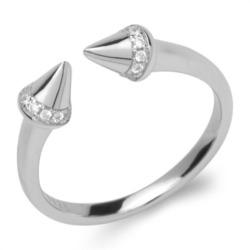 Geometrischer Silberring 925er Silber Zirkonia