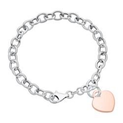Gliederarmband aus 925er Silber mit Herz, rosévergoldet