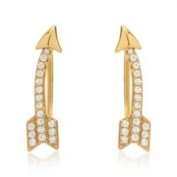 Goldene Ohrringe Pfeile Zirkonia 925er Silber