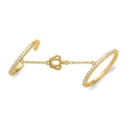 Goldener Doppelring mit Kette Krone 925er Silber