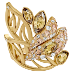 Graceful Bloom Cocktail Ring, braun, Vergoldet