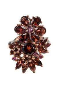 Granat Blumen Ring