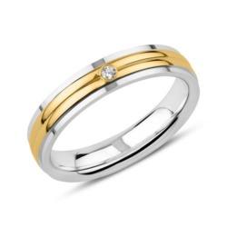 Gravierbarer 925er Silberring, teilvergoldet Zirkonia