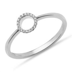 Gravierbarer Diamantring 0,05 ct. 750er Weißgold