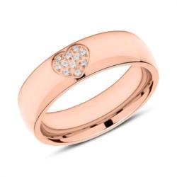 Gravierbarer Edelstahl Ring Herz rosévergoldet Zirkonia