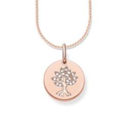 Gravierbarer Lebensbaum Anhänger aus 925er Silber, rosé