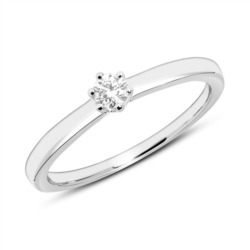 Gravierbarer Ring aus 585er Weißgold mit Diamant