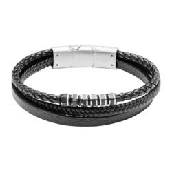 Gravierbares Armband aus schwarzem Leder für Herren
