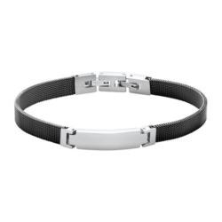 Gravierbares Armband Mesh aus Edelstahl, schwarz