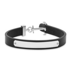 Gravierbares Armband Signum schwarzes Leder