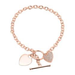 Gravierbares Herzarmband aus 925er Silber rosé Zirkonia