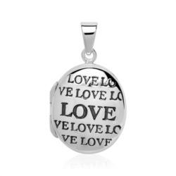 Gravierbares Medaillon Love aus Sterlingsilber