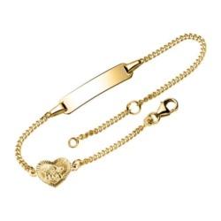 Gravur Armband aus 9K Gold mit Herz und Engel