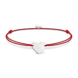 Gravur Herzarmband Damen aus rotem Nylon 925er Silber